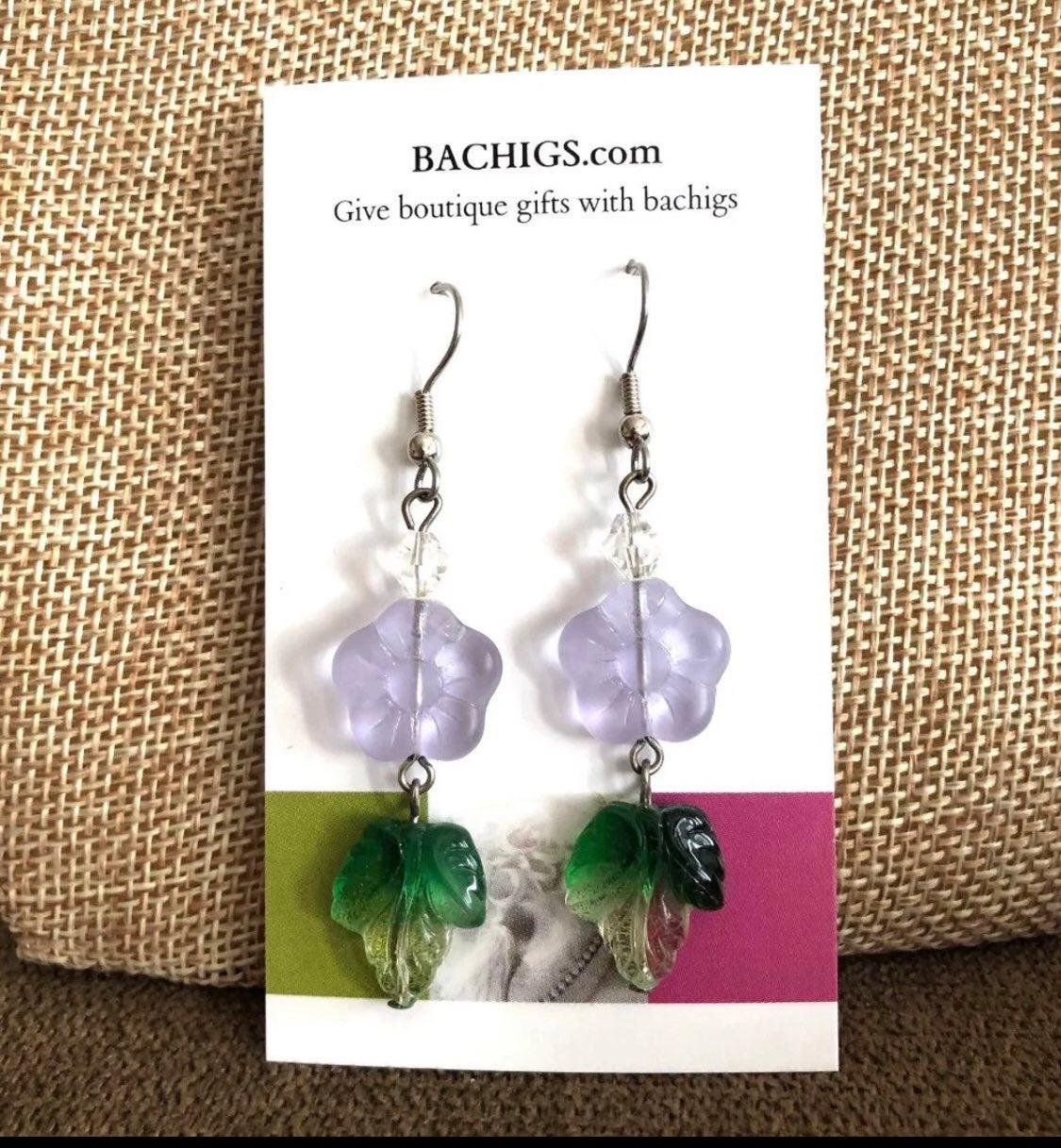 Earrings: flower and leaf drop  earrings