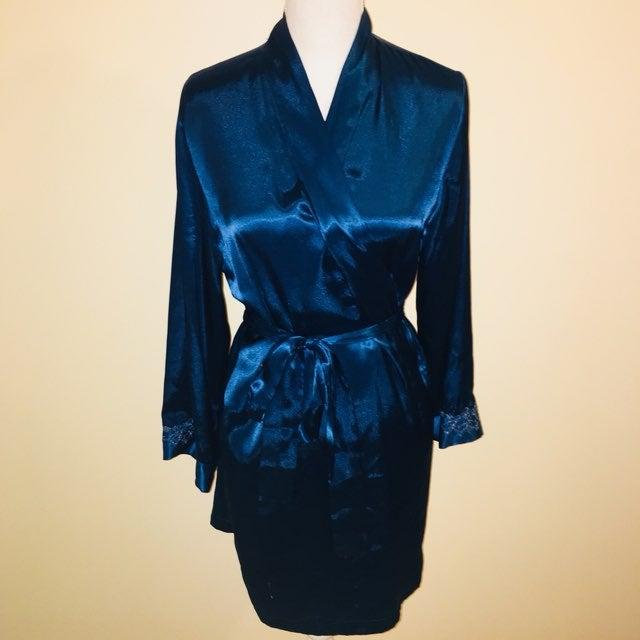 Royal Blue Satin Silk Robe