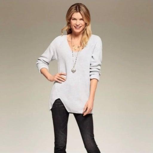 Cabi Grey Deep V Asymmetric Sweater