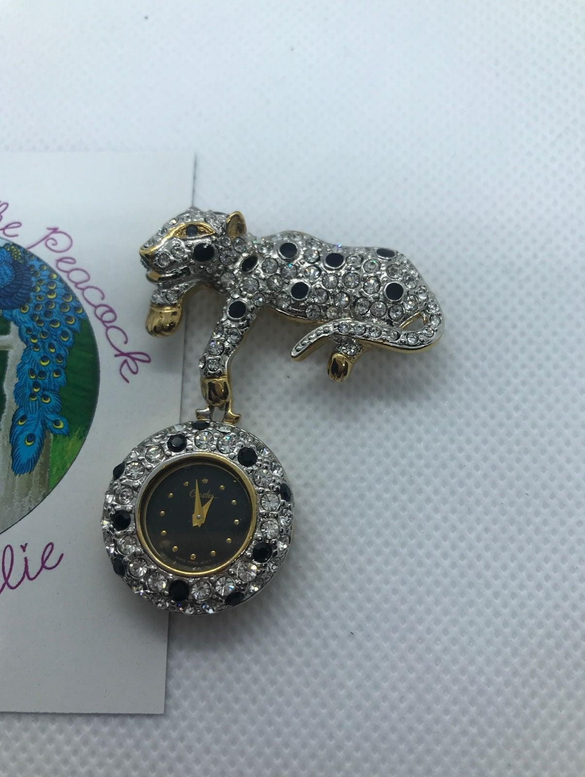 Estate Carolee leopard watch brooch pin