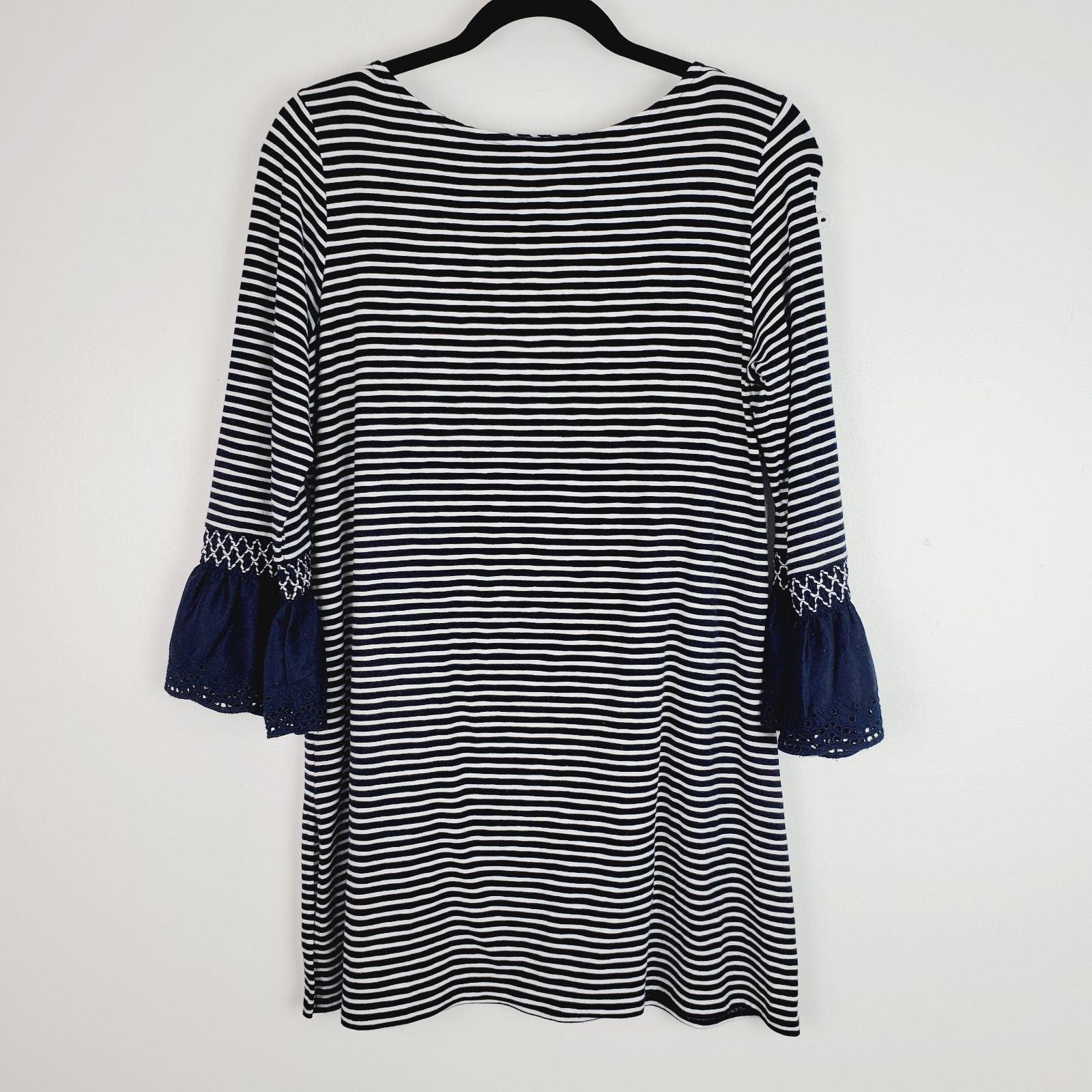 J.Jill Navy & White Striped Tunic