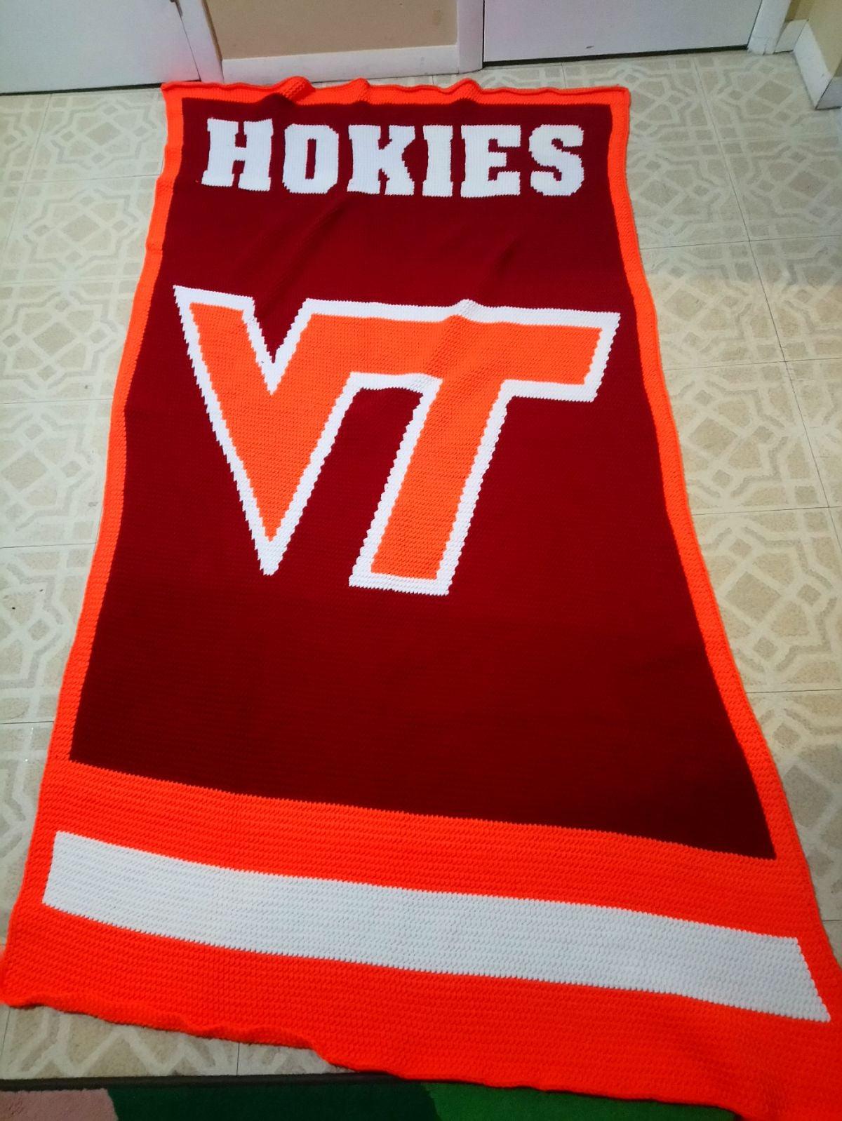 Crochet Virginia Tech Throw, Hokies Blan