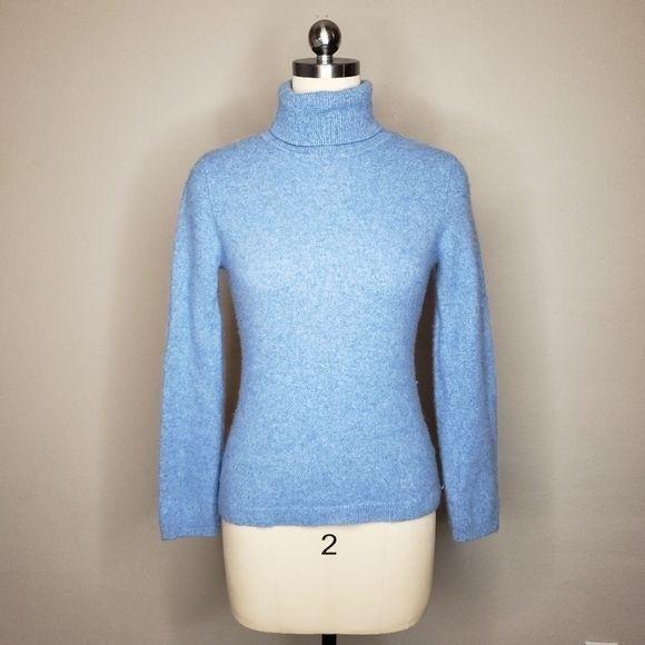 Garnet Hill cashmere turtleneck blue