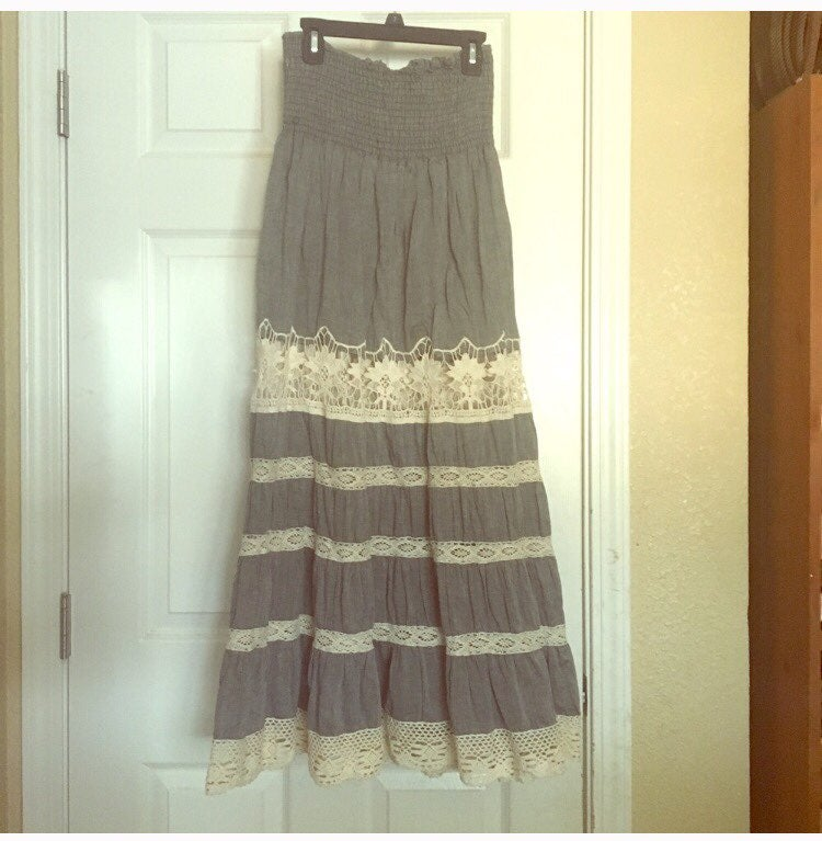 Long Lace Boho Skirt