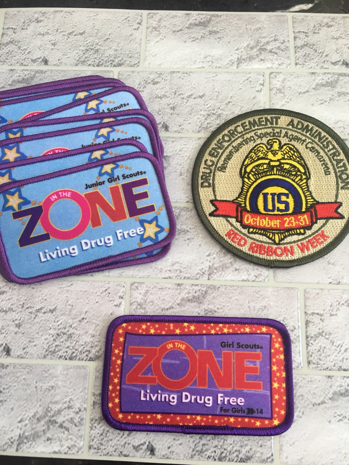 Drug free patches girl scout badges