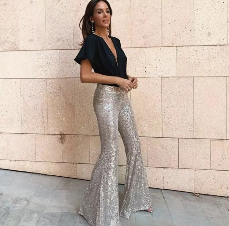 Zara Flare Silver Sequin Pants by Zara