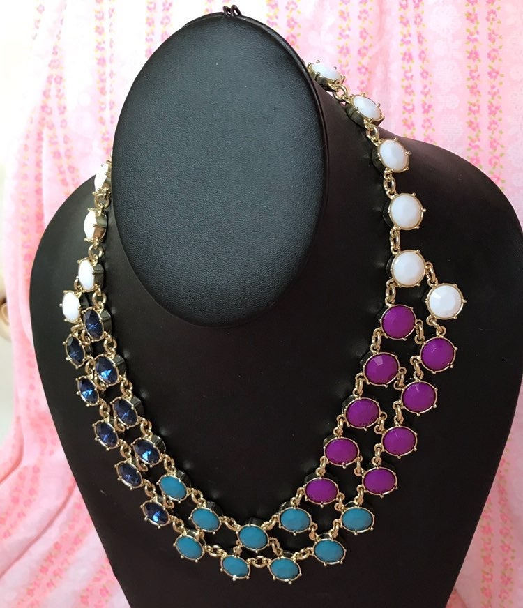 Ann Taylor Colored Rhinestone Necklace