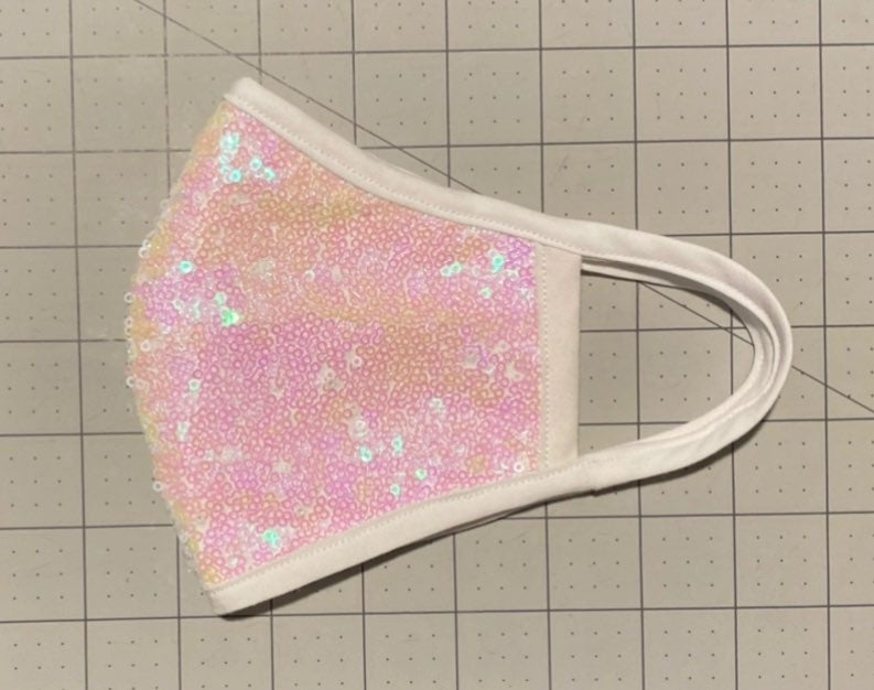 Iridescent White Sequin Face Mask