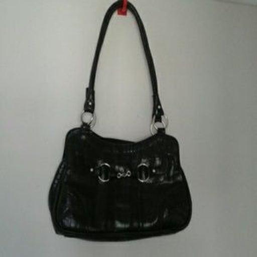 Bueno Black Faux-croc 2 handle purse
