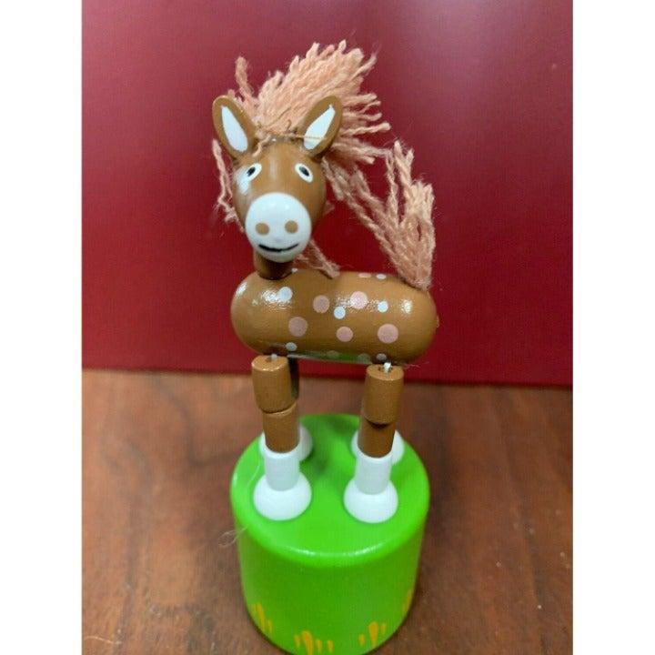 Retro Classic Wooden Push Thumb Puppet Toy - Horse / Farm Animal