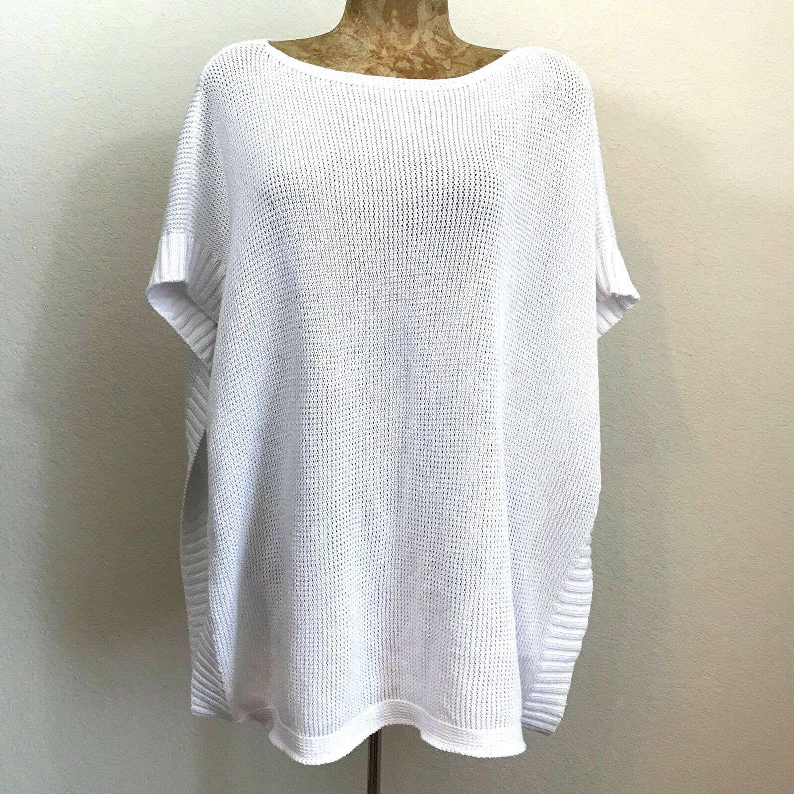 Talbots Kimono Topper Sweater Sz S White