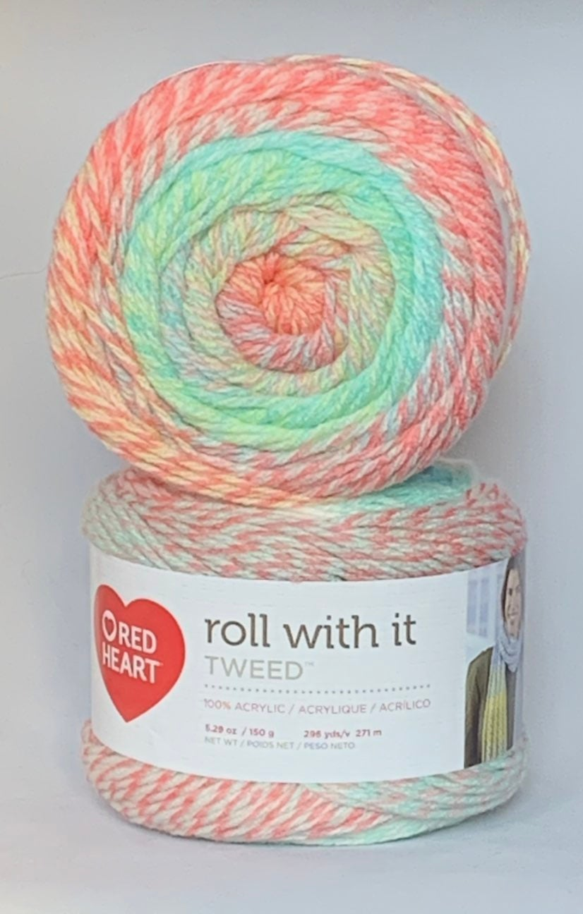 Red Heart Roll With It Tweed Yarn-2
