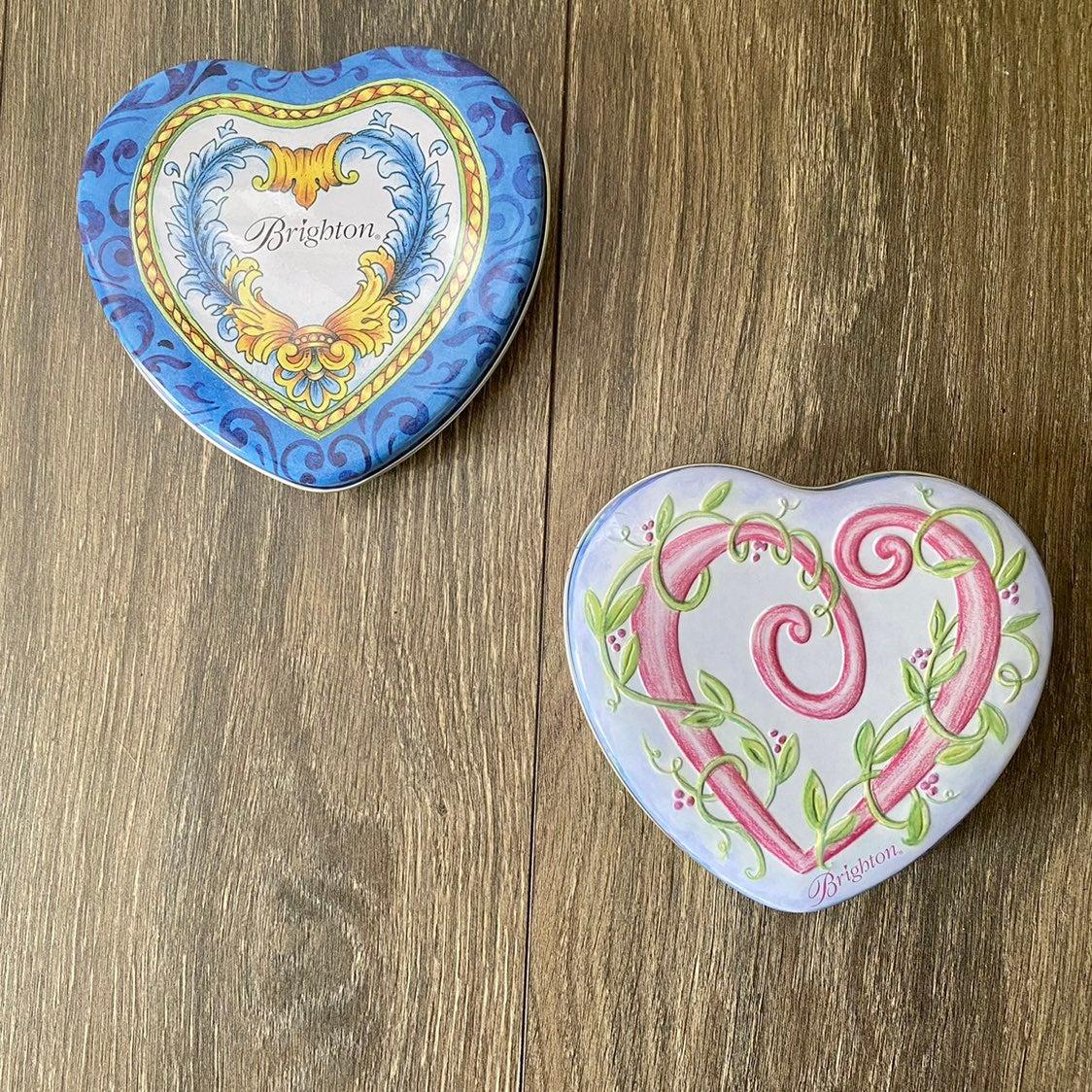 "Set  of 2 Brighton Metal Heart Tins 5.5"""