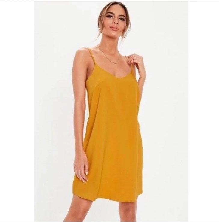 missguided mustard yellow mini  dress