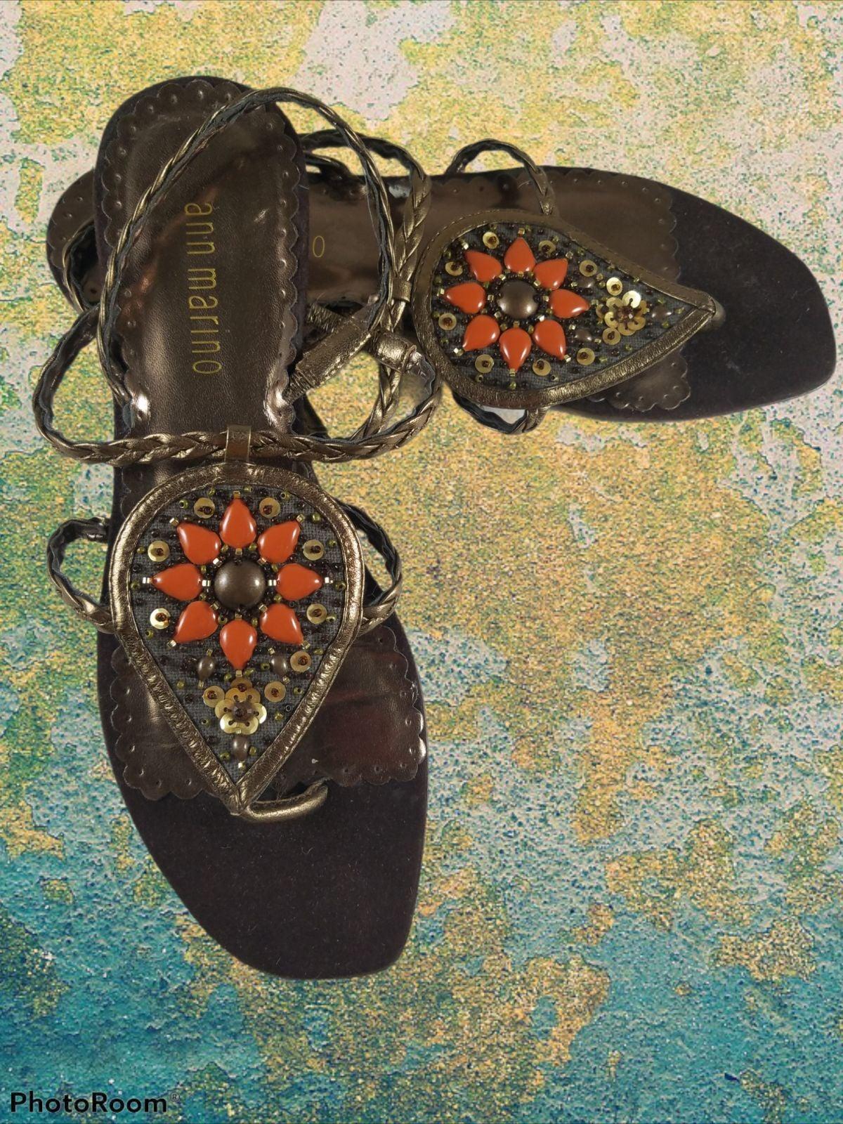 Ann Marino Sandals Shoes Gold Orange 8M