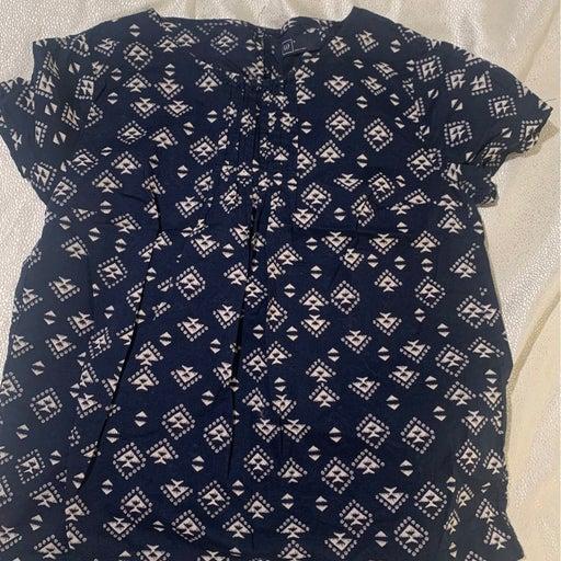 Blue boho tribal print top