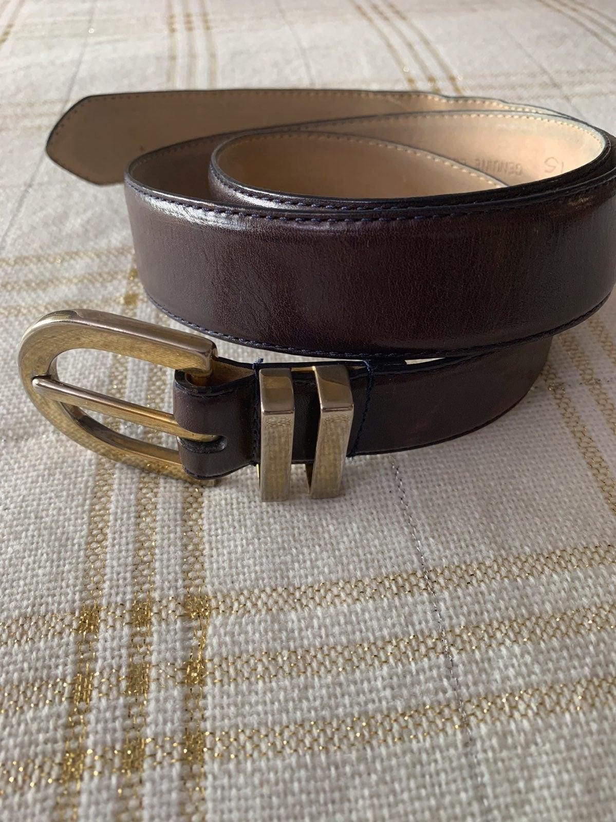 TALBOTS 6020 Leather Belt, DARK BROWN.
