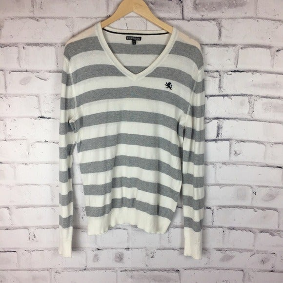 Express gray striped sweater