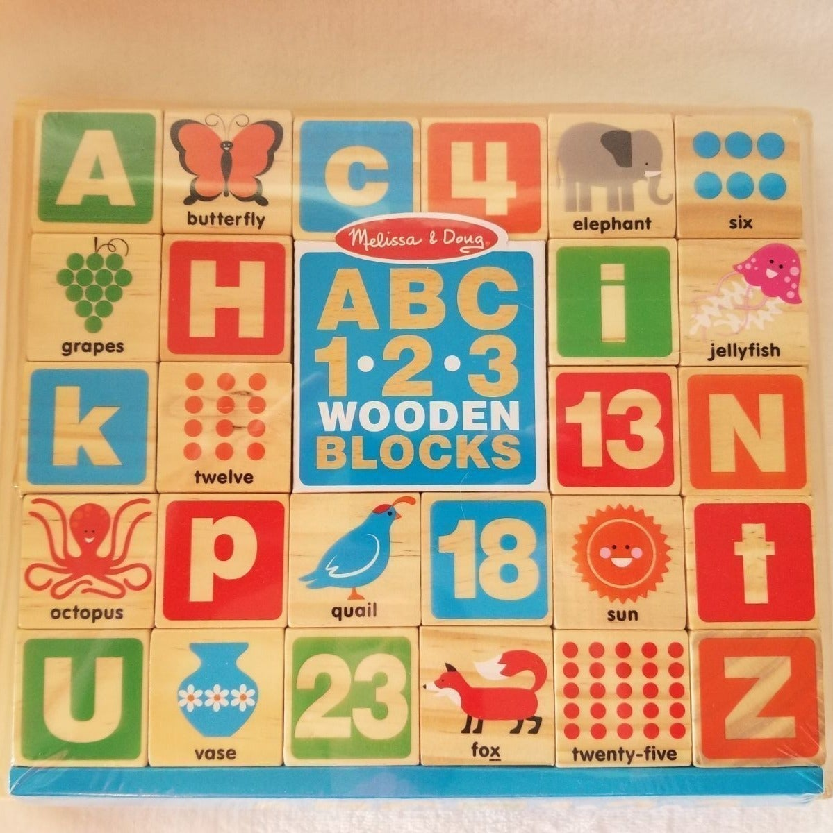 Melissa & Doug ABC 123 Wooden Blocks NWT