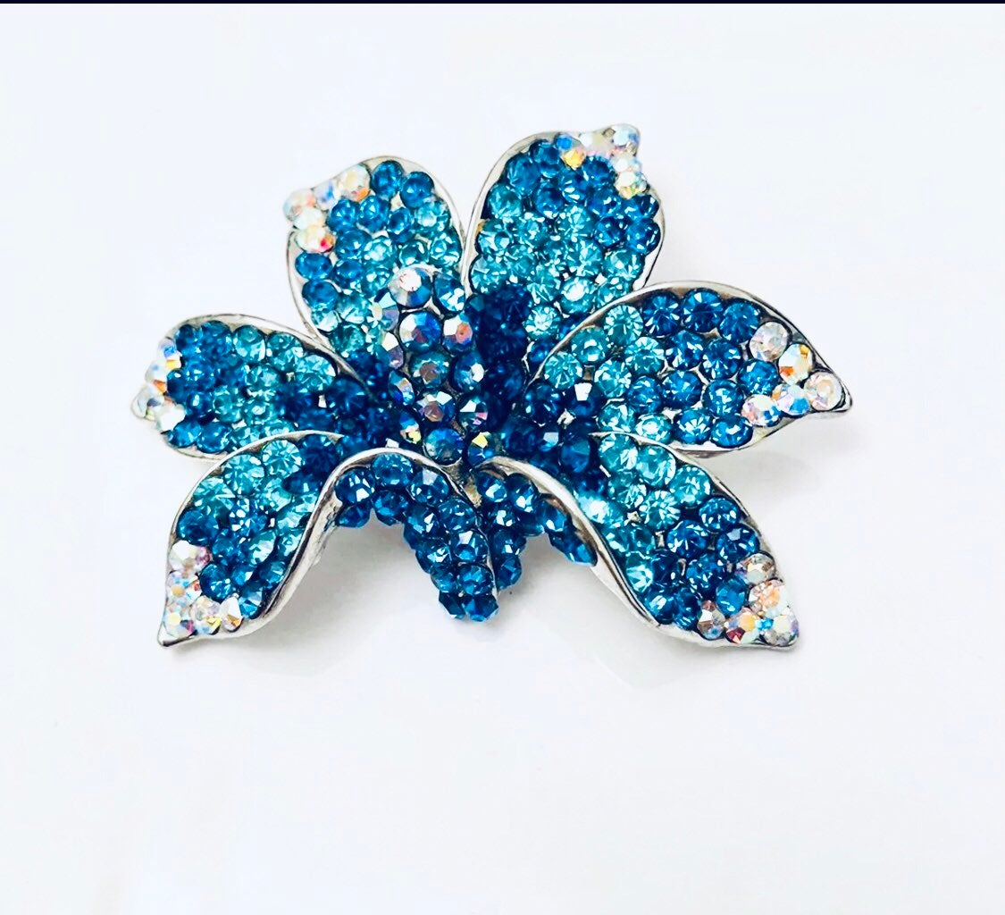 Turquoise orchid brooch boutique pin