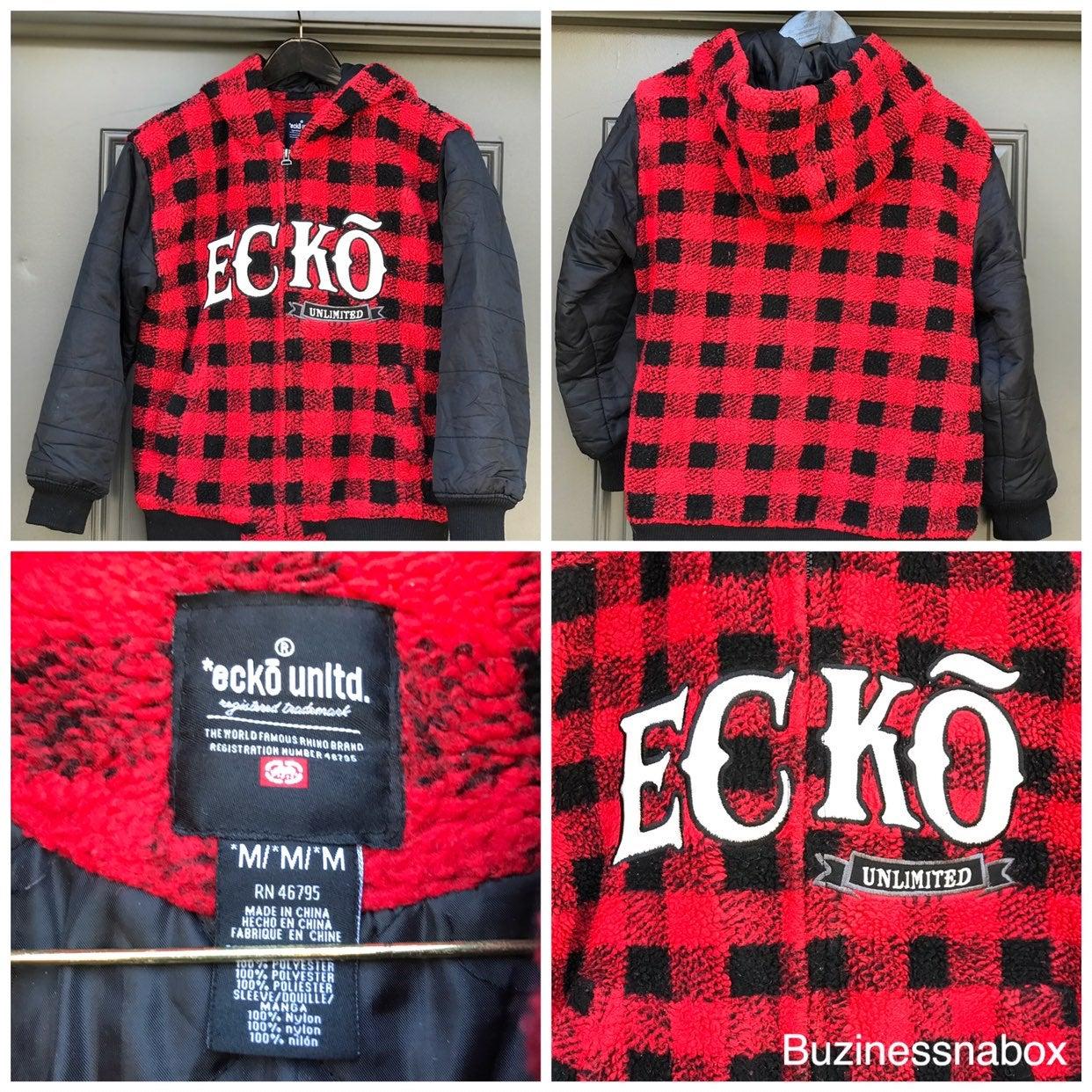 Vtg Ecko Unlimited Flannel Hooded Jacket