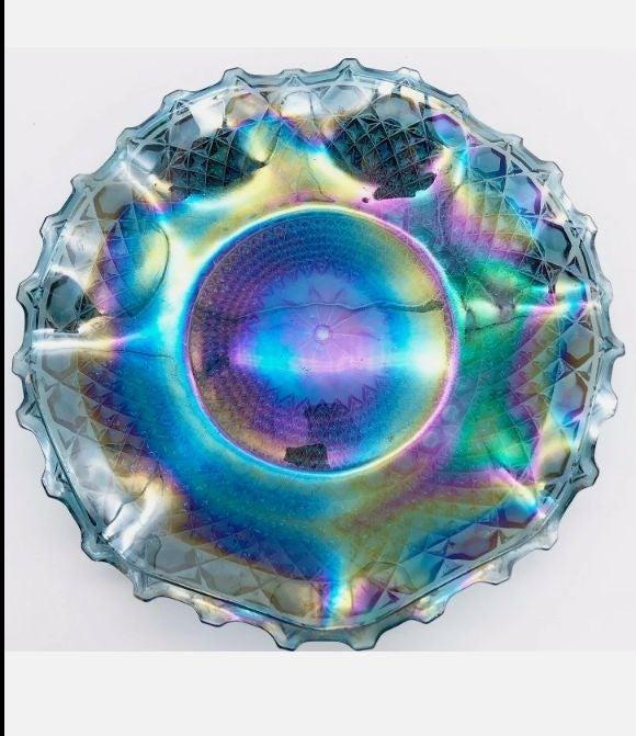 Vintage Iridescent Blue Glass Dish