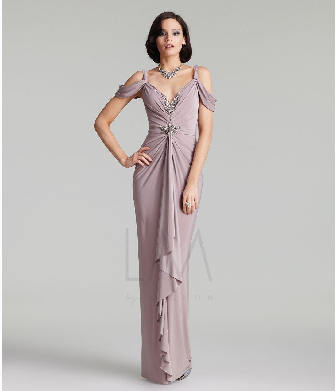 Mignon Jeweled gown AL1900 in quartz sz