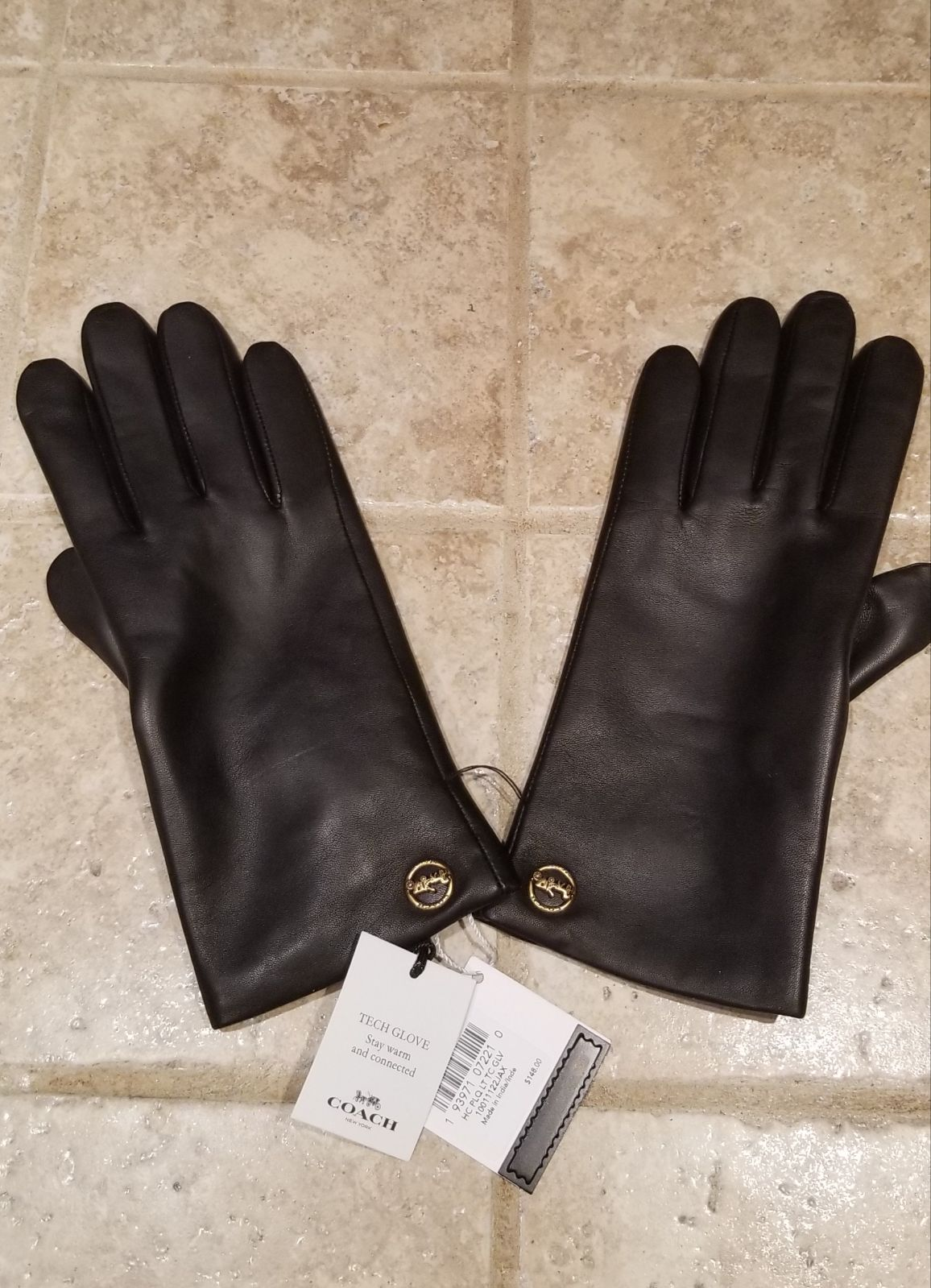 Coach Leather Tech Device Gloves Small