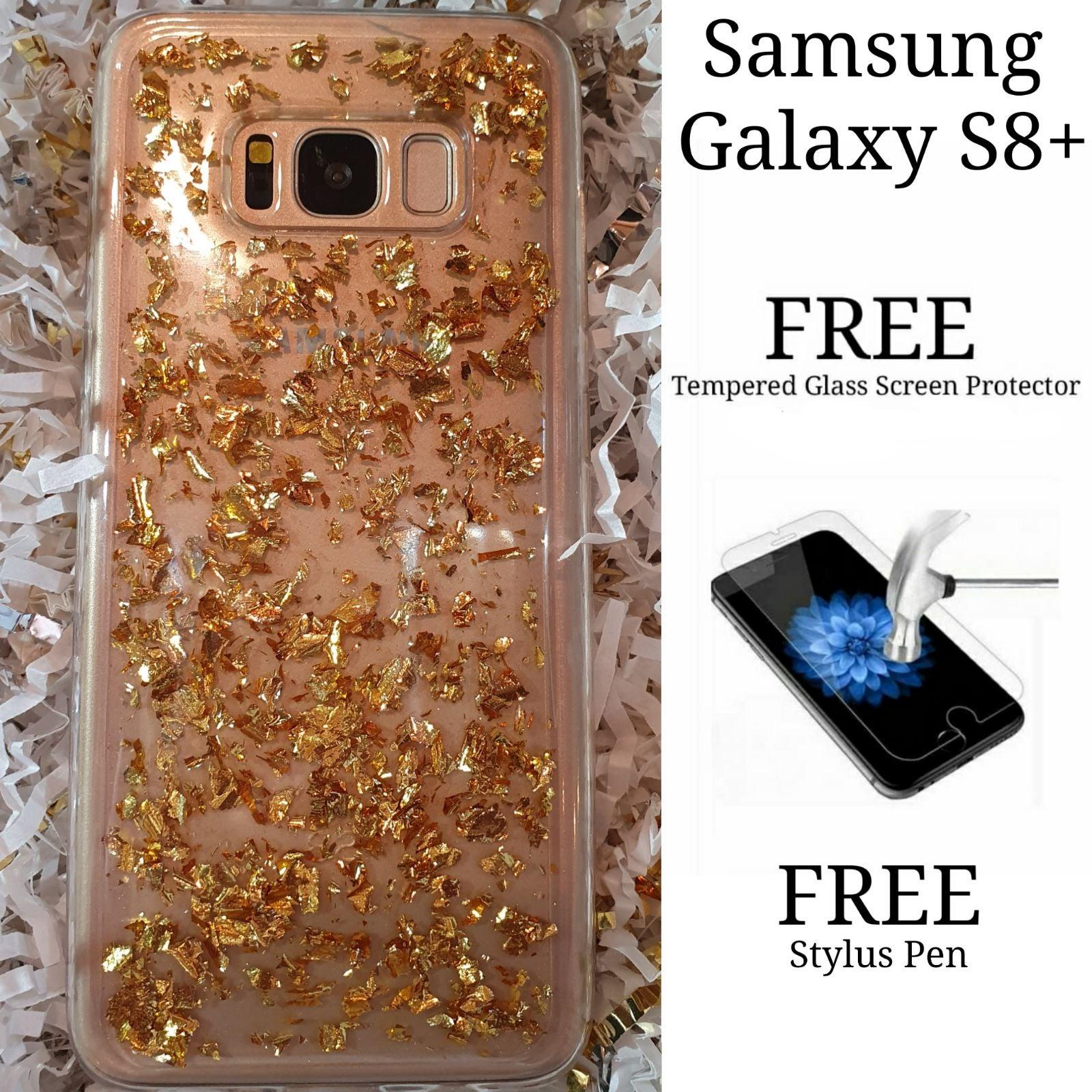 Gold Glitter Flakes Samsung Galaxy S8+