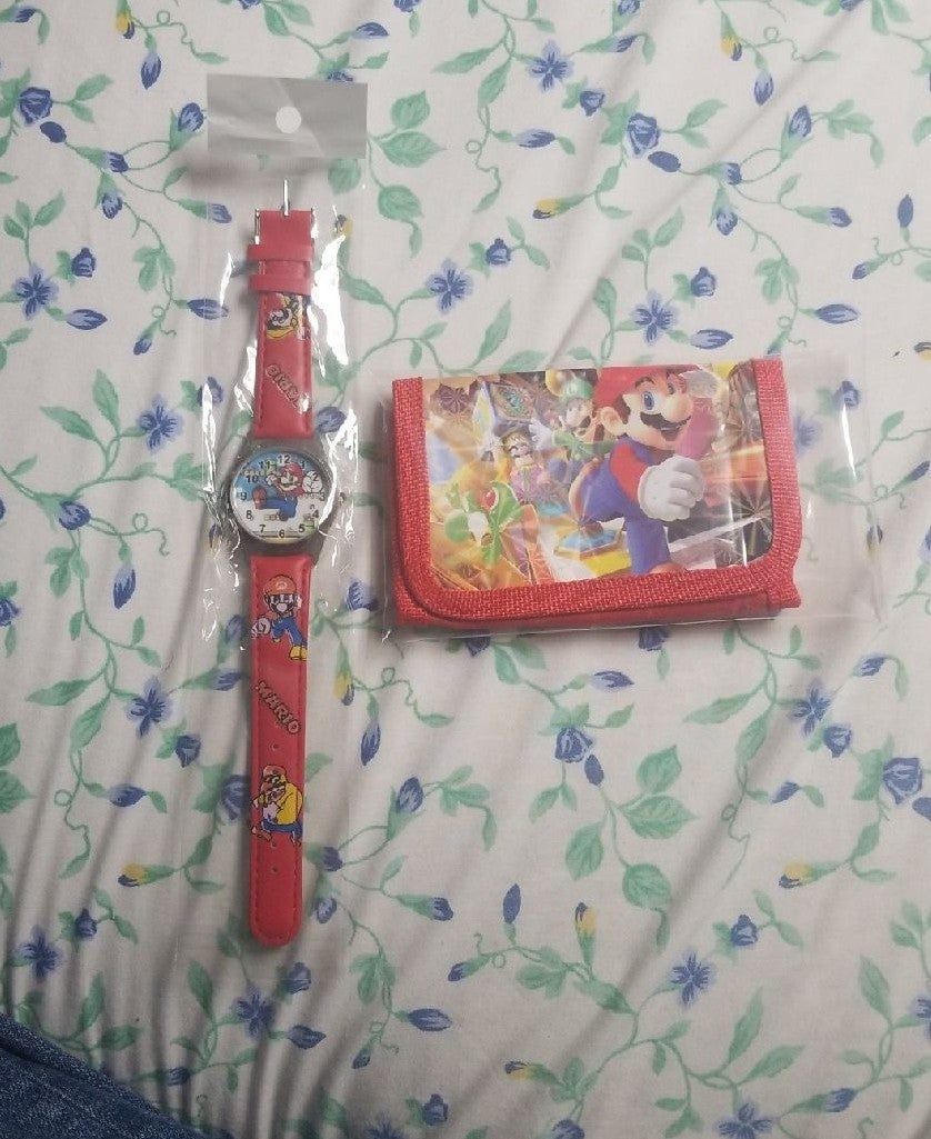 Mario Brothers Kids Wallet and Watch