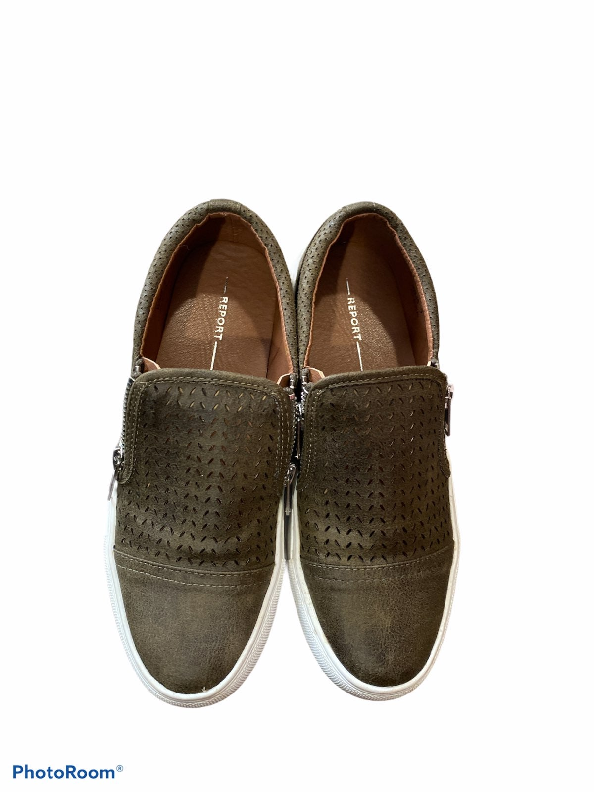 Womens slip on army green shoes