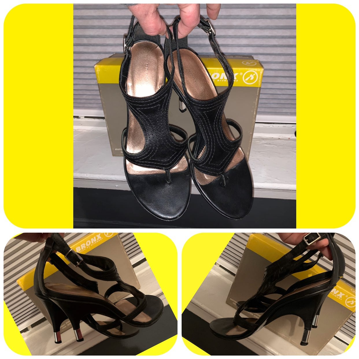 Black Leather Curved Heels/Sandals
