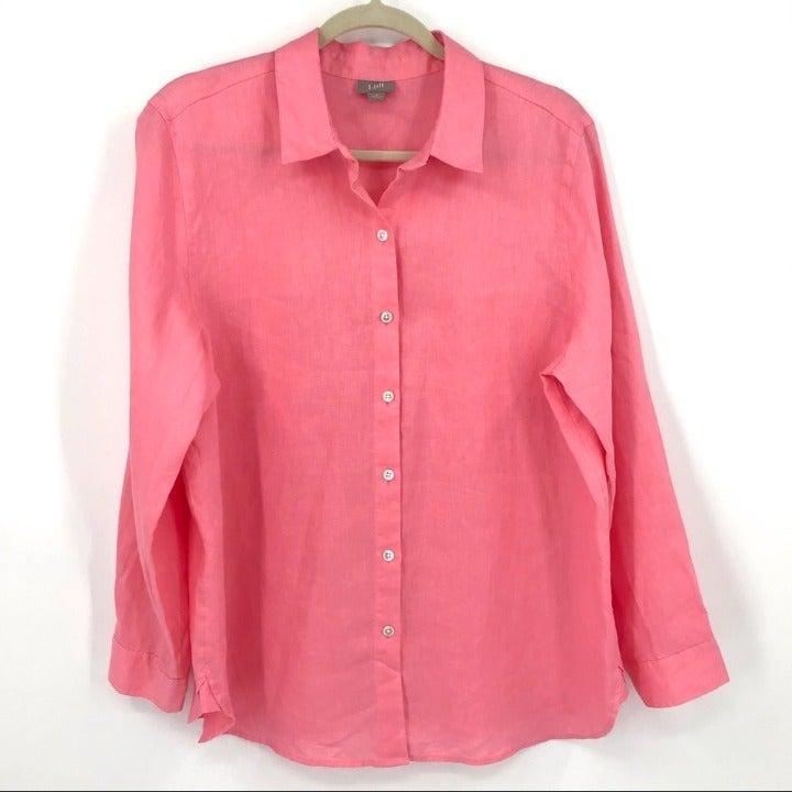 J. Jill 100% linen pink button up tunic