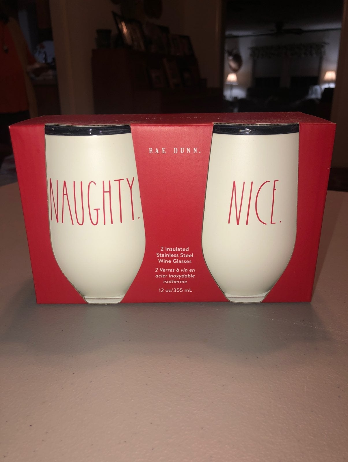 "Rae Dunn ""Naughty"" ""Nice"" Wine Glasses"