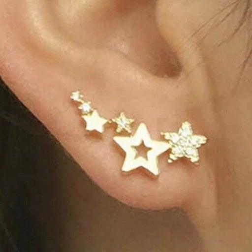 Gold Star Studded Ear Climbers