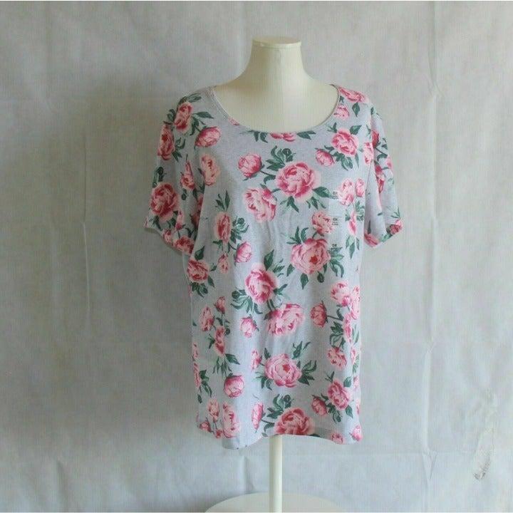 Karen Scott Plus 0X 14W T-Shirt Pink Gra