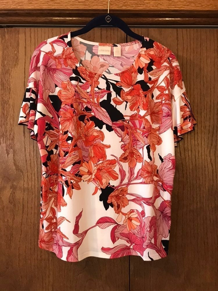 Chicos Floral Print Top Size 0