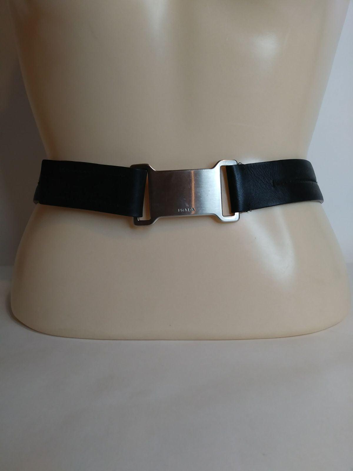 Prada Black Leather Belt 30 Silver Buckl