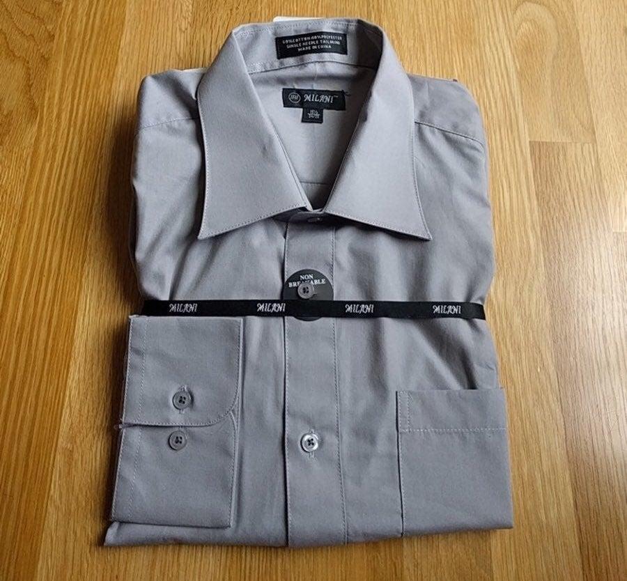 New Mens Gray Button Shirt