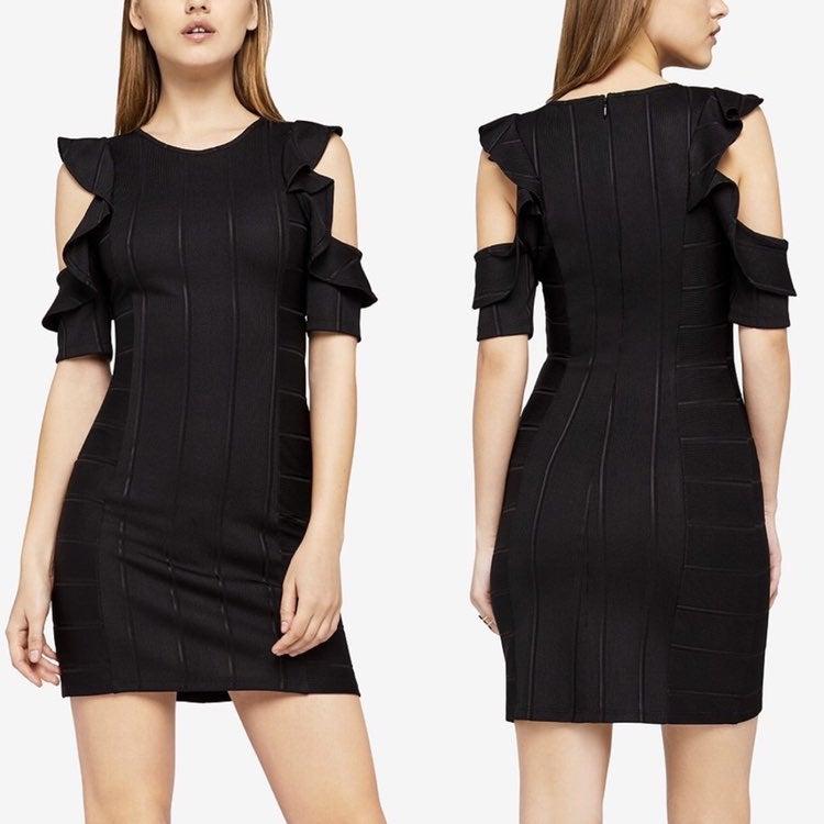 bcbg dress black ruffle bandage 2