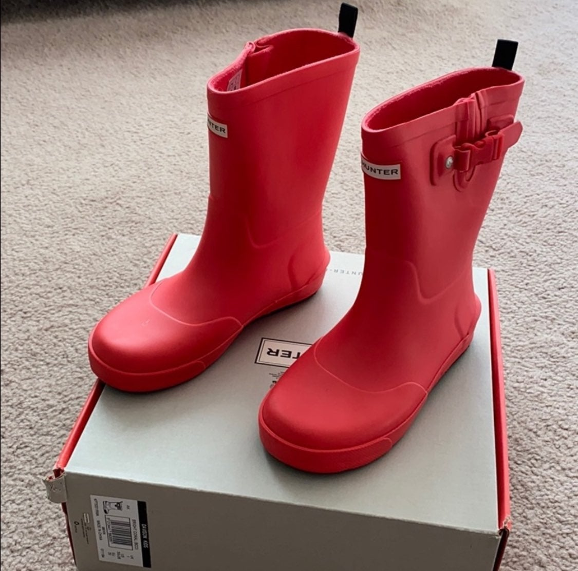 Kids bright coral Hunter boots