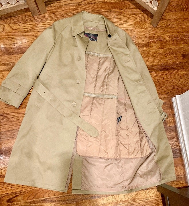 Mens trench coat removable lining 36 S