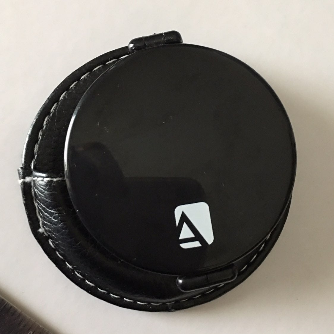 """Avon Black 3"""" Mirror In Leather Case"""