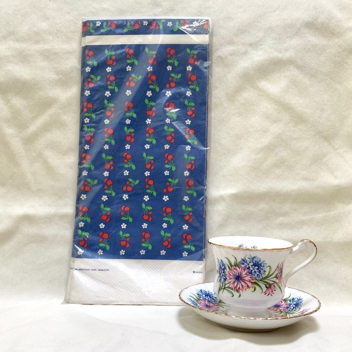 Vintage 1977 blue tablecover w/ cherries