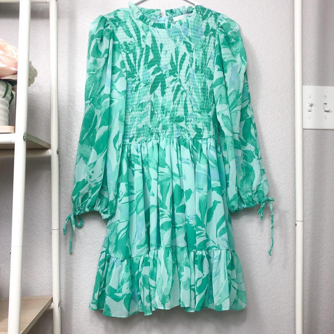 Blue floral print smocked dress