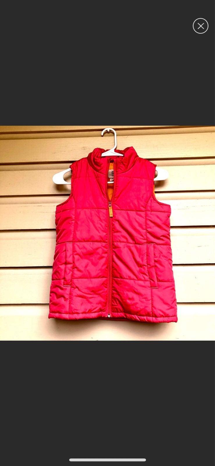 Land's End Girls Puffer Vest Pink Zip S