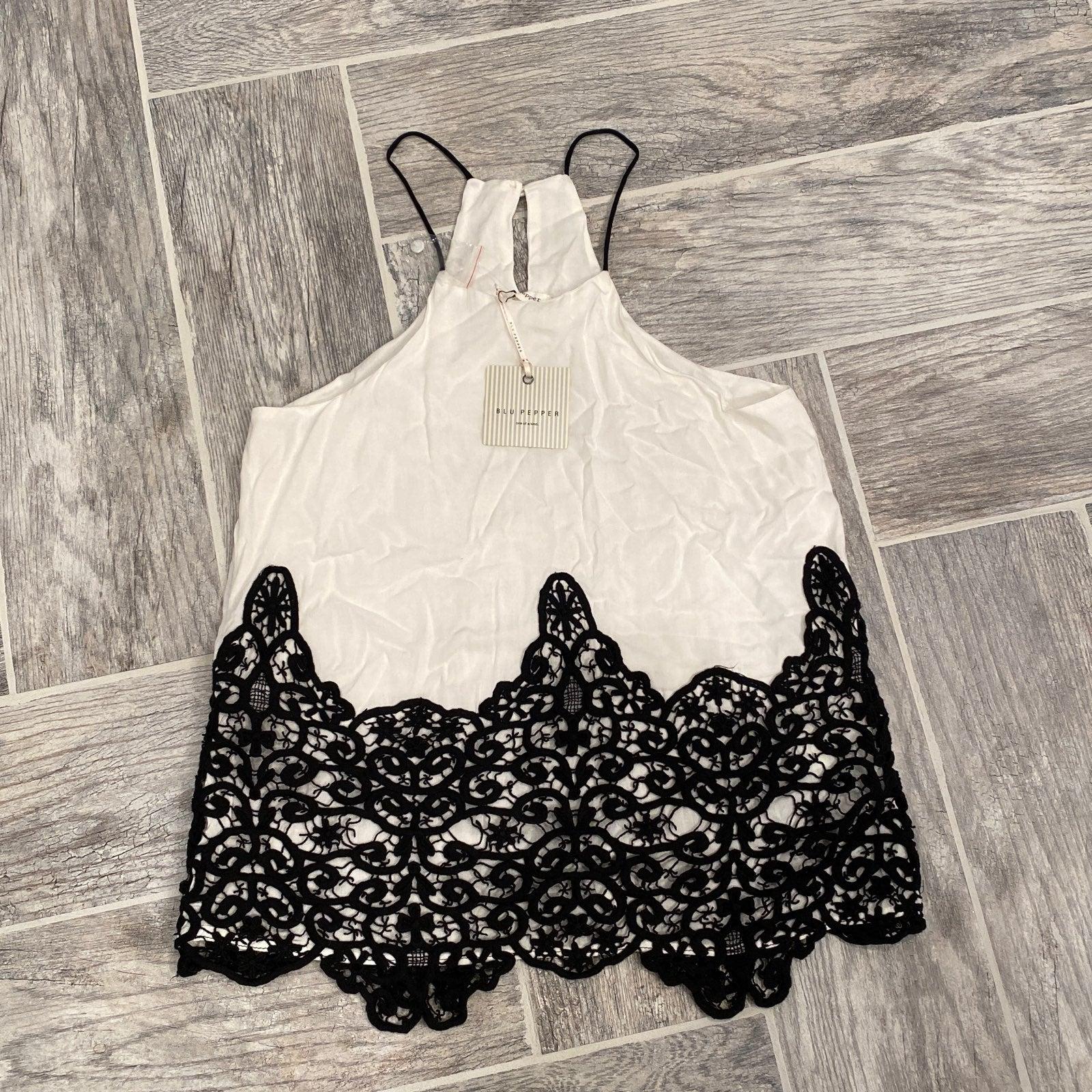 Black & White Lace Tank Top NWT