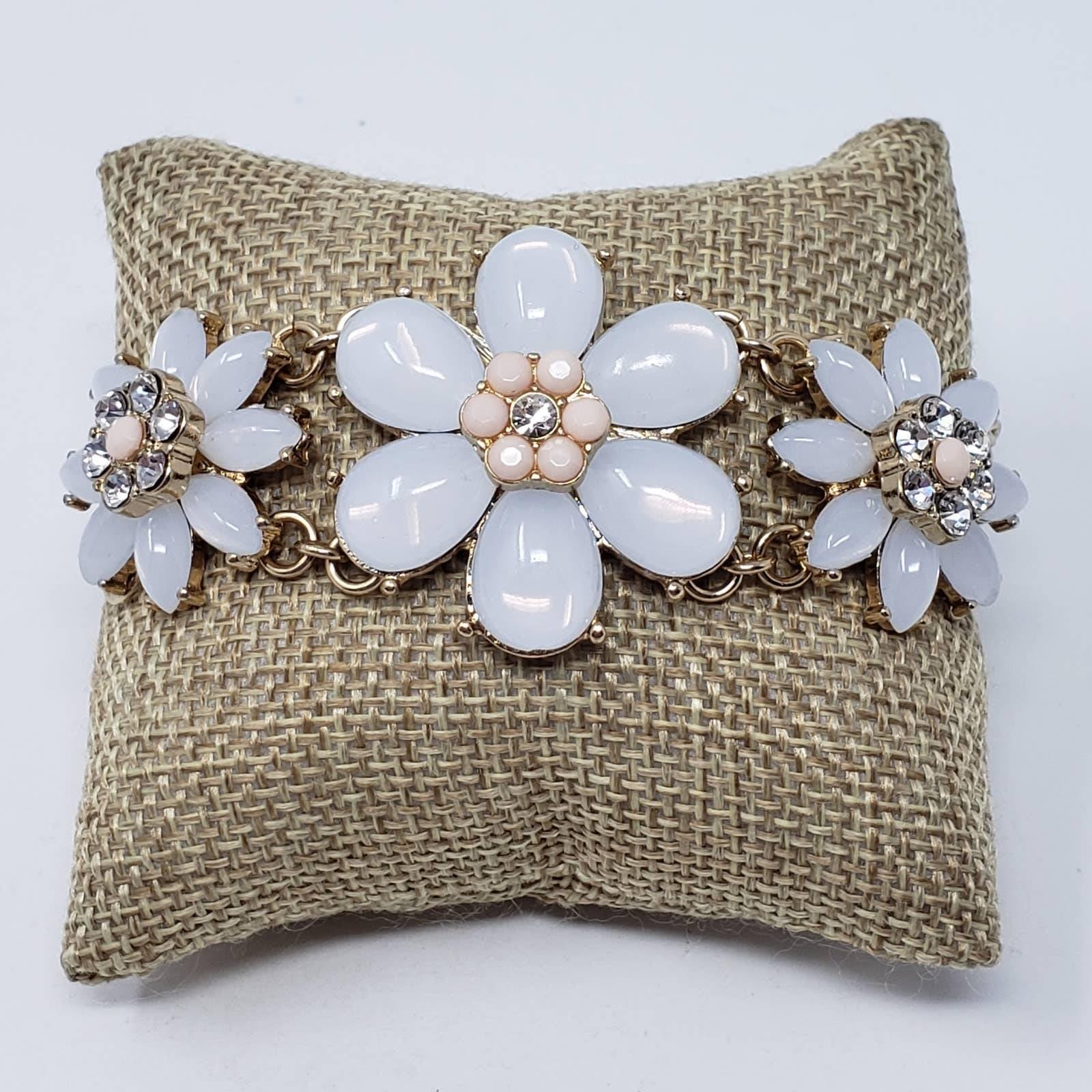 Talbots Gold Rhinestone Flower Bracelet