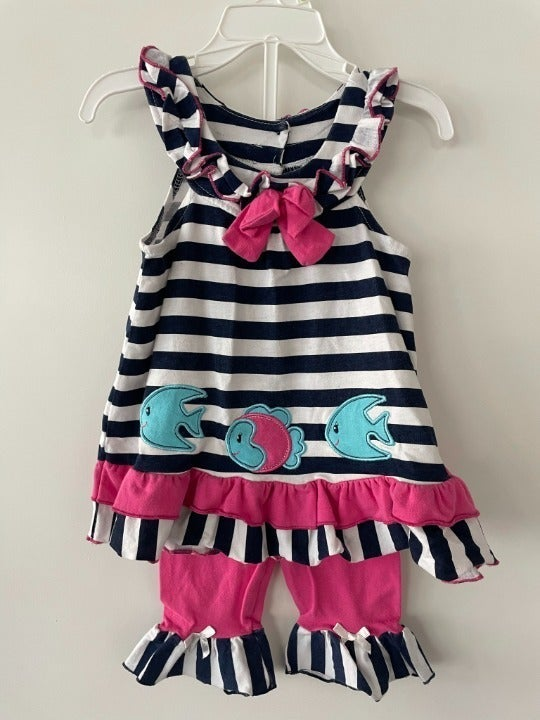 Girls 3T Nannette Striped Fish Outfit