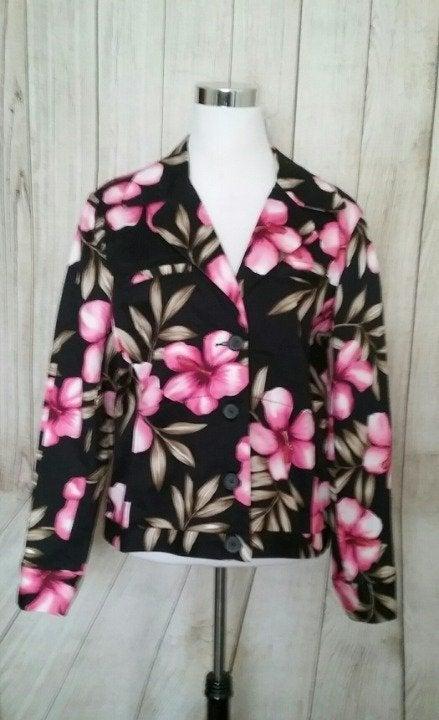 Jamaica Bay Floral  Black Blazer Jacket
